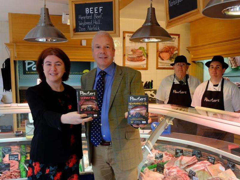Sausage protection was on the menu when Grant Fuller welcomes MEP Alex Mayer to his Newmarket shop.