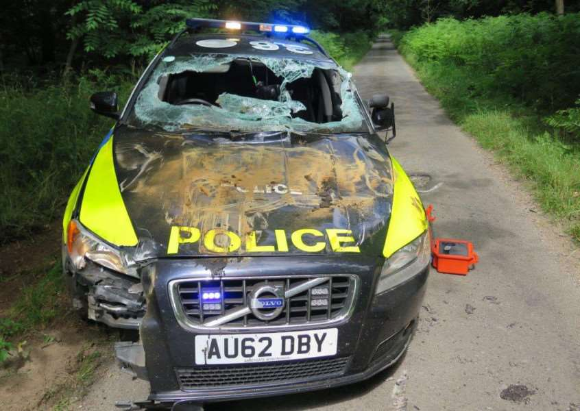 Police car damaged in the July incident