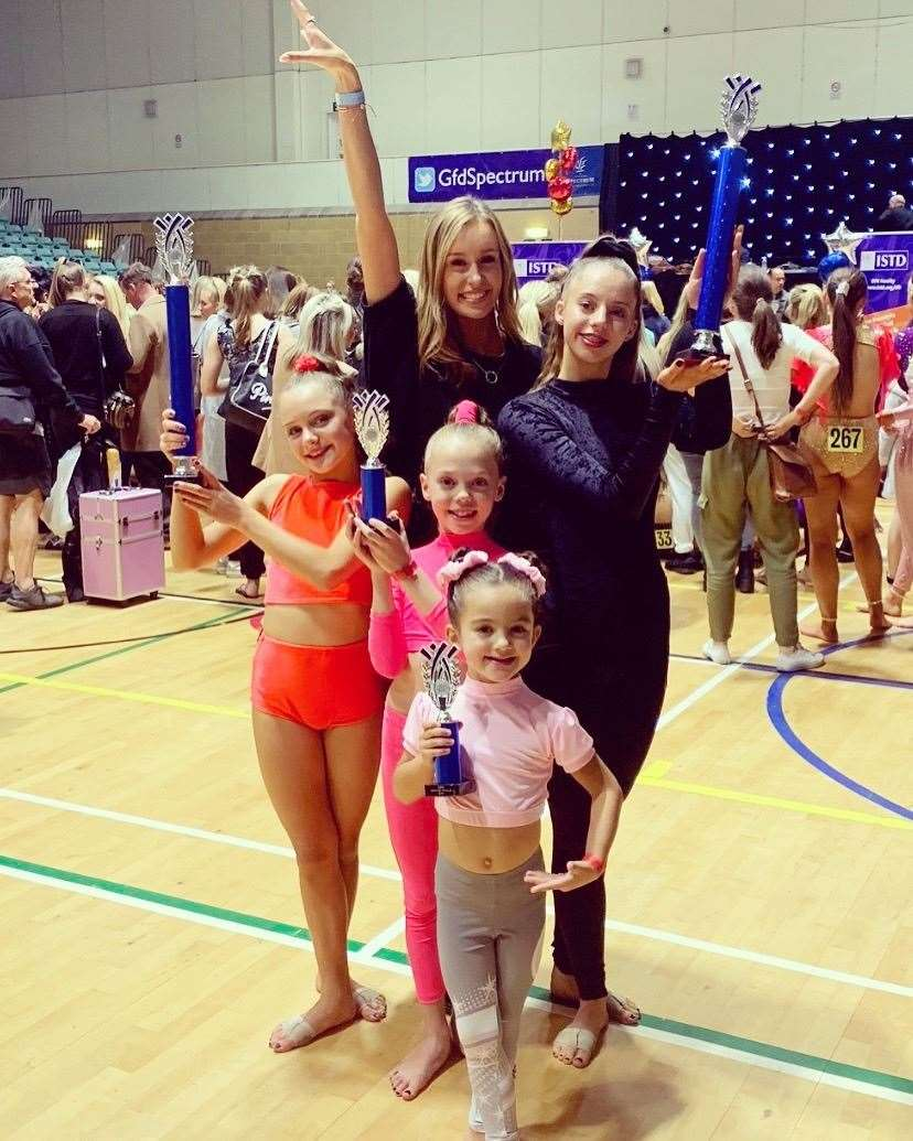 Amy-Leigh Sellers with the four dancers who got into the finals of their events. Contributed picture