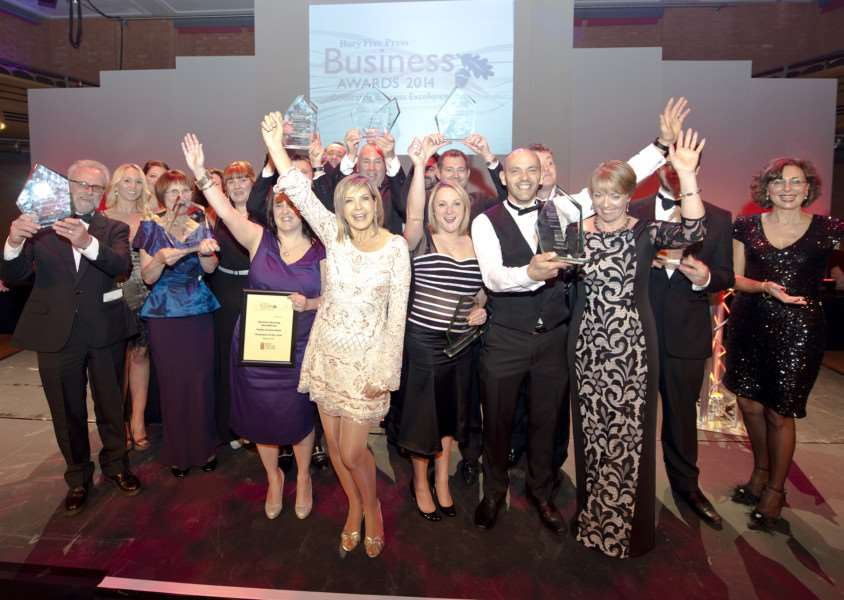Bury Free Press Business Awards 2014''PIctured: Penny Smith with the winners ANL-141013-075246009