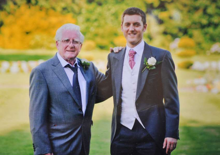 Sports editor Russell Claydon on his wedding day with grandad Brian Yallop ANL-151116-170139009