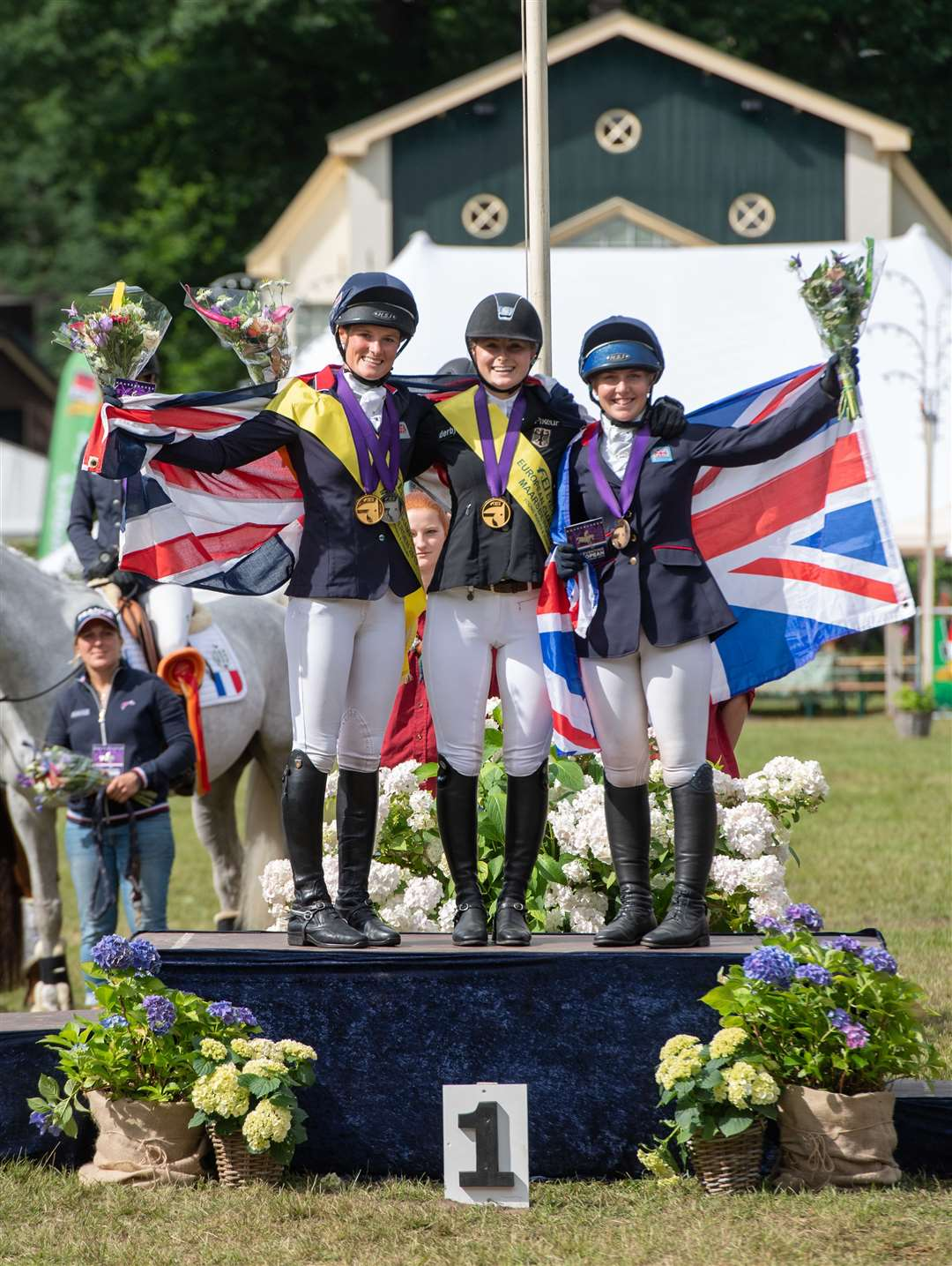 Young Rider Individual Championship Presentations - Bubby Upton (GBR) - Emma Brussau (GER) - Heidi Coy (GBR) - FEI European Eventing Championships J/YR - Maarsbergen 2019. Picture Adam Fanthorpe