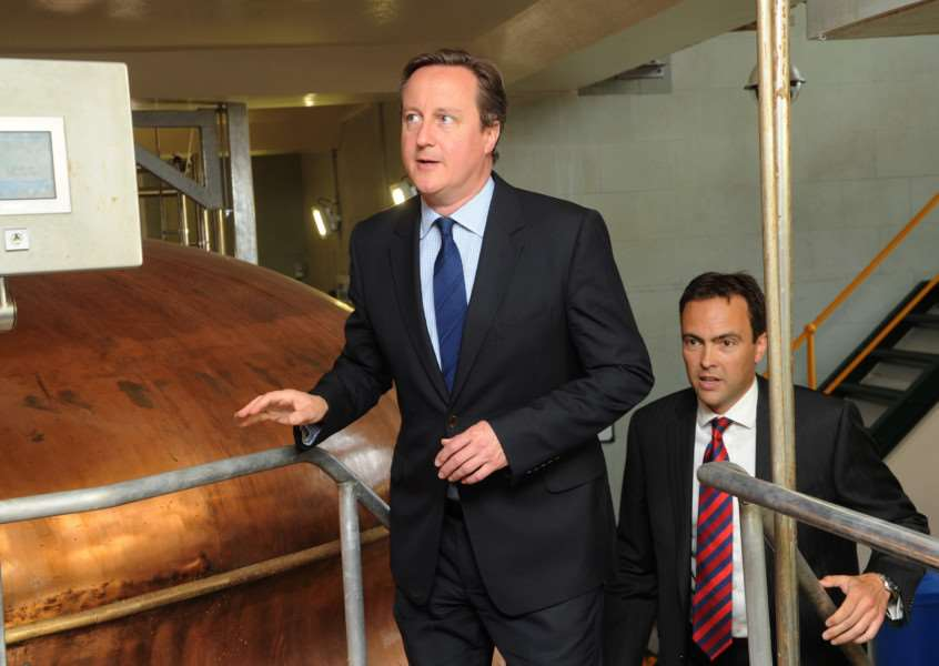PM David Cameron visiting Greene King. Shown around by Head of breweries operations David Carr ANL-160614-171839009