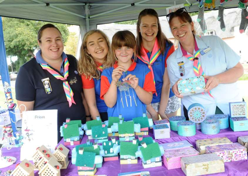 Cavendish Annual Fete and Horticultural Show''Pictured: 1st Cavendish Brownies and Guides who were raising money for a trip to Iceland in 2019: Rebecca Cox, Katie De'Scathebury, Melody Evans, Caitlin Evans and Abby Evans'''PICTURE: Mecha Morton