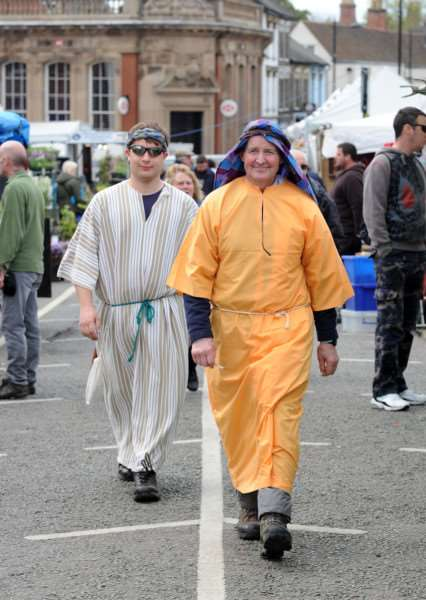 I-Spy Easter run by Churches together in Sudbury''Pictured: Nathaniel Rayner and Frank Marsden walking through the market'''PICTURE: Mecha Morton