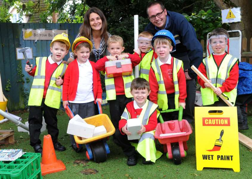 Early year pupils with Jason Brightman (branch manager at Kent Blaxill in Bury) and Nadine Fairweather (Early years teacher and deputy head).''''PICTURE: Mecha Morton