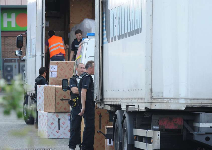 Police searching a lorry for illegal immigrants. NOTE: This is a file picture for illustrative purposes only and was not taken at the actual incident in Haverhill