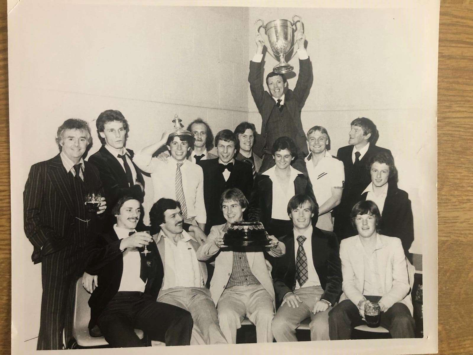 The league winning team, with Danny Green lifting the cup Pictures: Haverhill Rovers FC