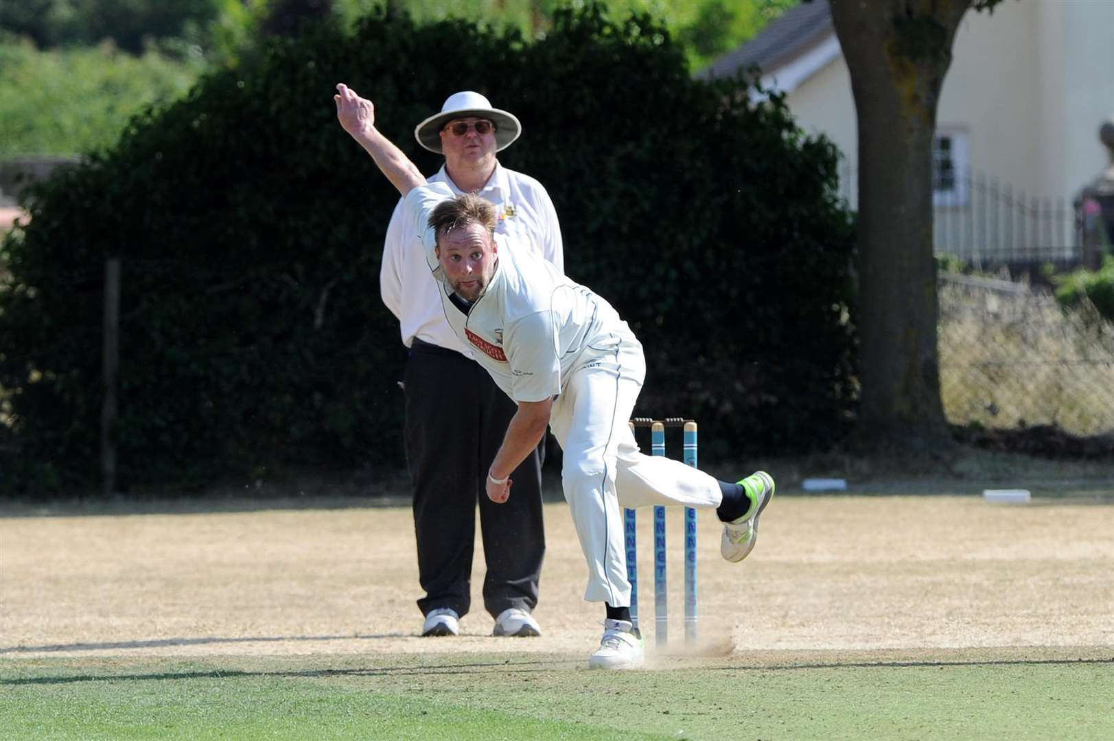 CRICKET - Worlington (Bowling) v Foxton in Last 16 of the National Village Cup...Pictured: Chris Tunstall ....PICTURE: Mecha Morton. .. (2930111)