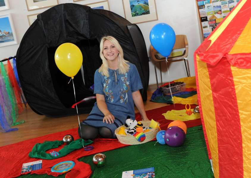 Kimberley Goldsmith with her business 'Little Explorers Sensory' - based at Culford Village Hall Picture: Mecha Morton