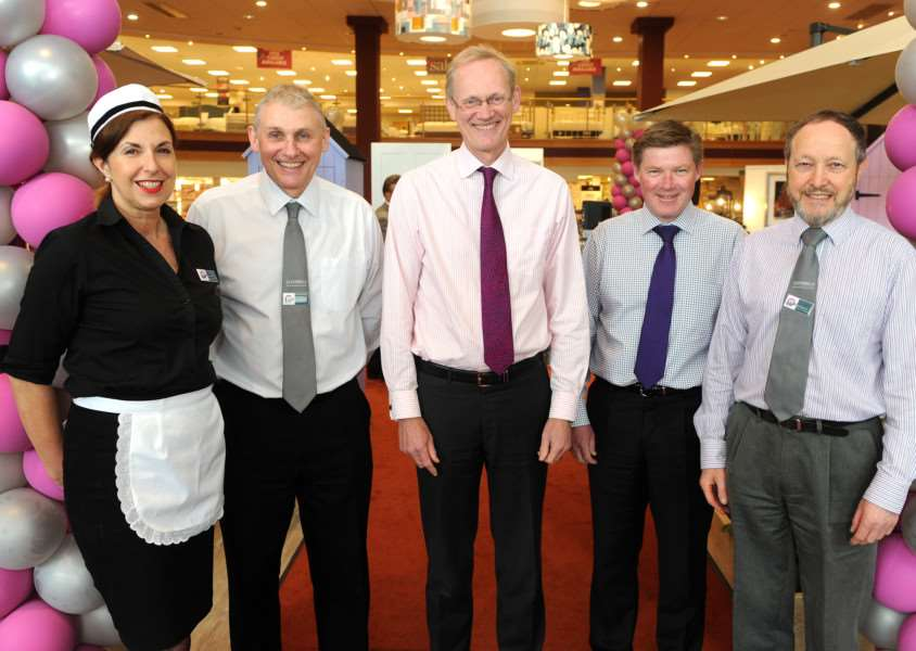 Glasswells Big Birthday Weekend''Pictured: Tina Janes (Catering Manager), Brian Bugg (Furniture Manager), Paul Glasswell, Kevin Robertson (Sales Director) and Ian Robertson (Carpet Buyer Manager) ANL-160205-150054009