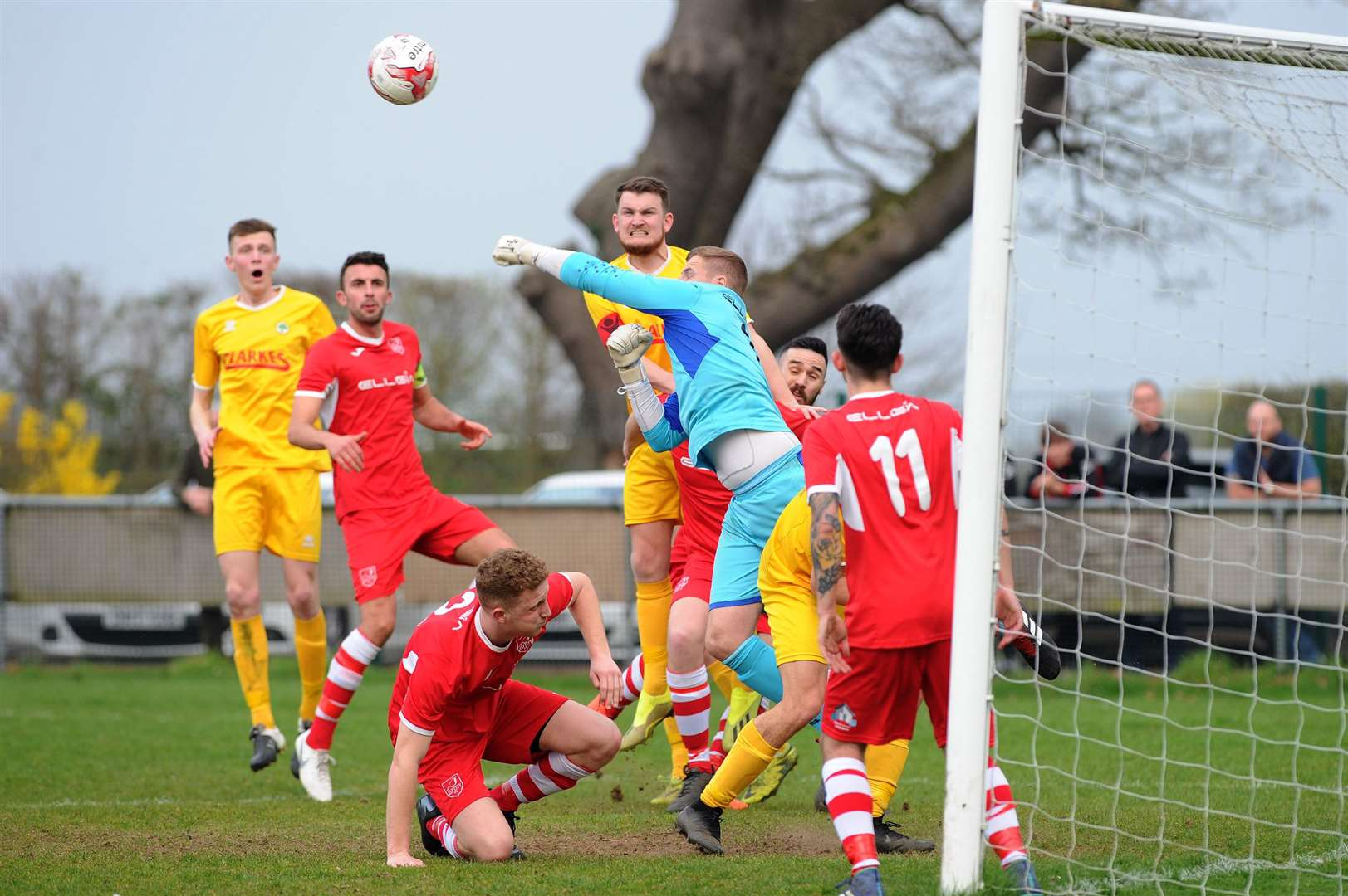 FOOTBALL - Walsham Le Willows v Ely City..Pictured: Harry Roberts (E) clears the ball....PICTURE: Mecha Morton.... (8157371)