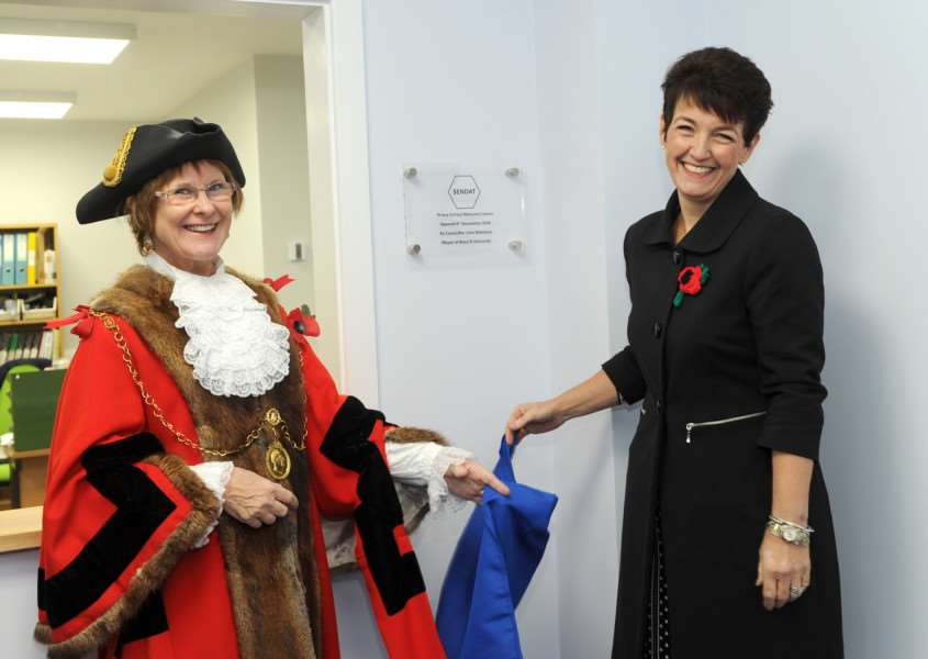Opening of the new Priory welcome centre by Mayor Julia Wakelam. Also pictured with MP Jo Churchill ANL-160411-175418009