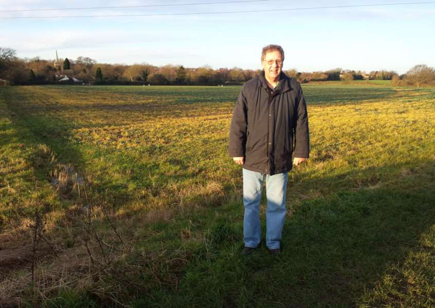 Keith Welham at the site where the planning inspectors has granted outline planning permission for homes ANL-150114-110657001
