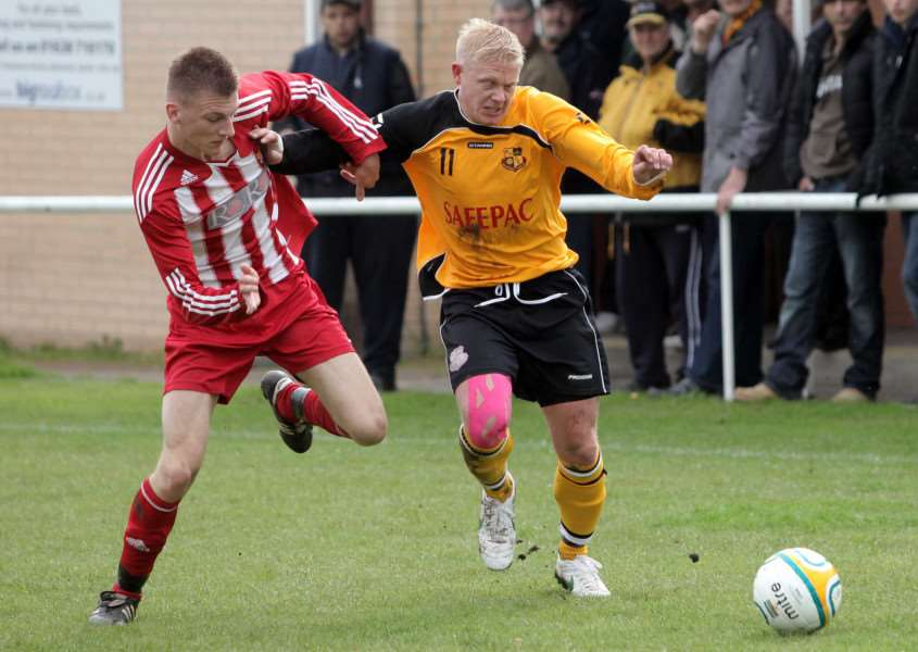 RETURNING STRIKER: Steve Holder (right) has rejoined Mildenhall