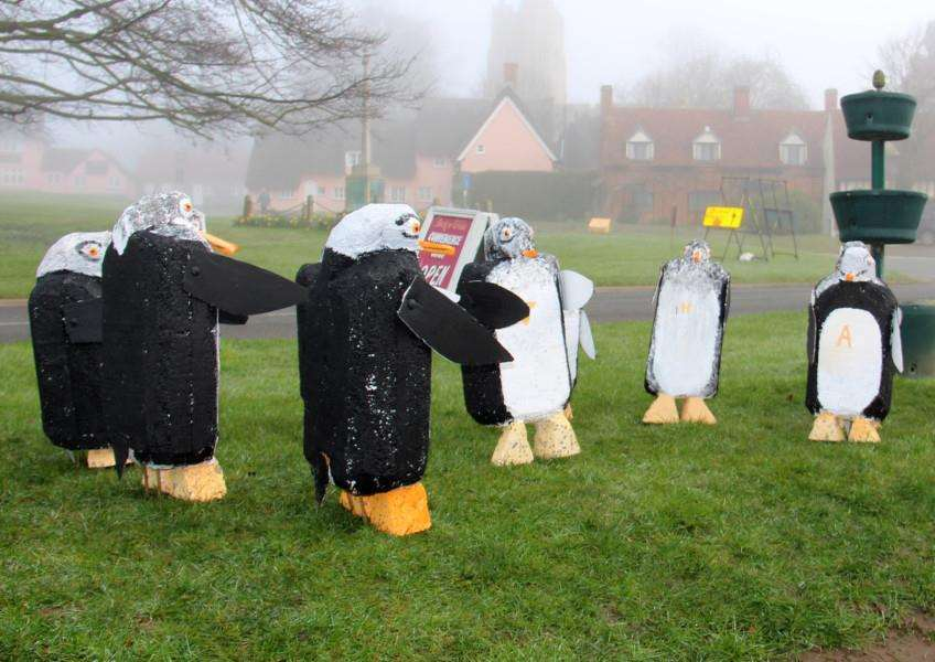 A flock of 'Plorofail' penguins from Alaska arrived overnight in Cavendish and took up residence outside the village Community Shop. Picture by Mike Stokes ANL-160104-154847001