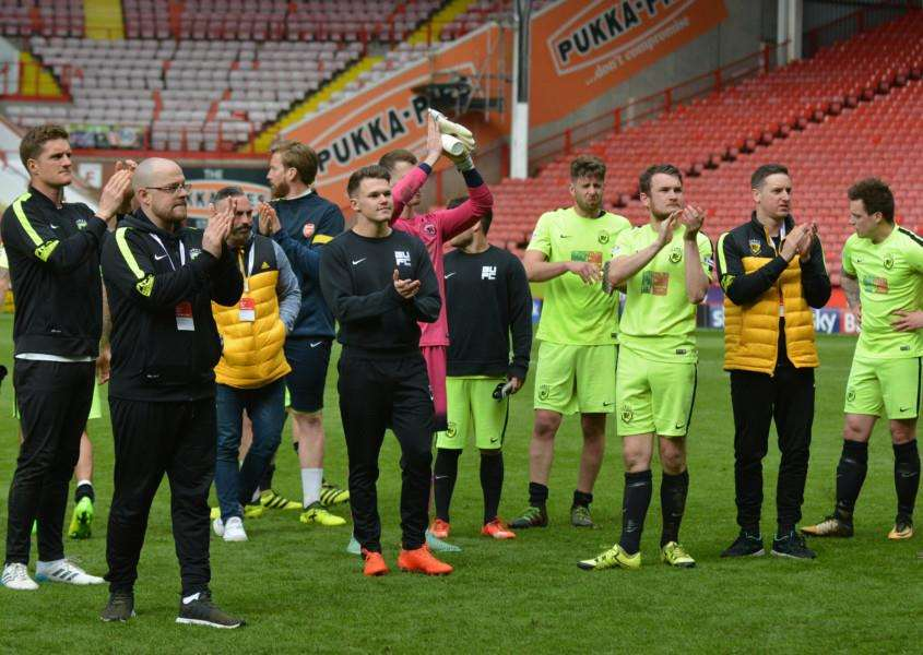 SHOWING RESPECT: Gym United players and coaching staff applaud the travelling supporters at Bramall Lane. Picture: Ben Pooley