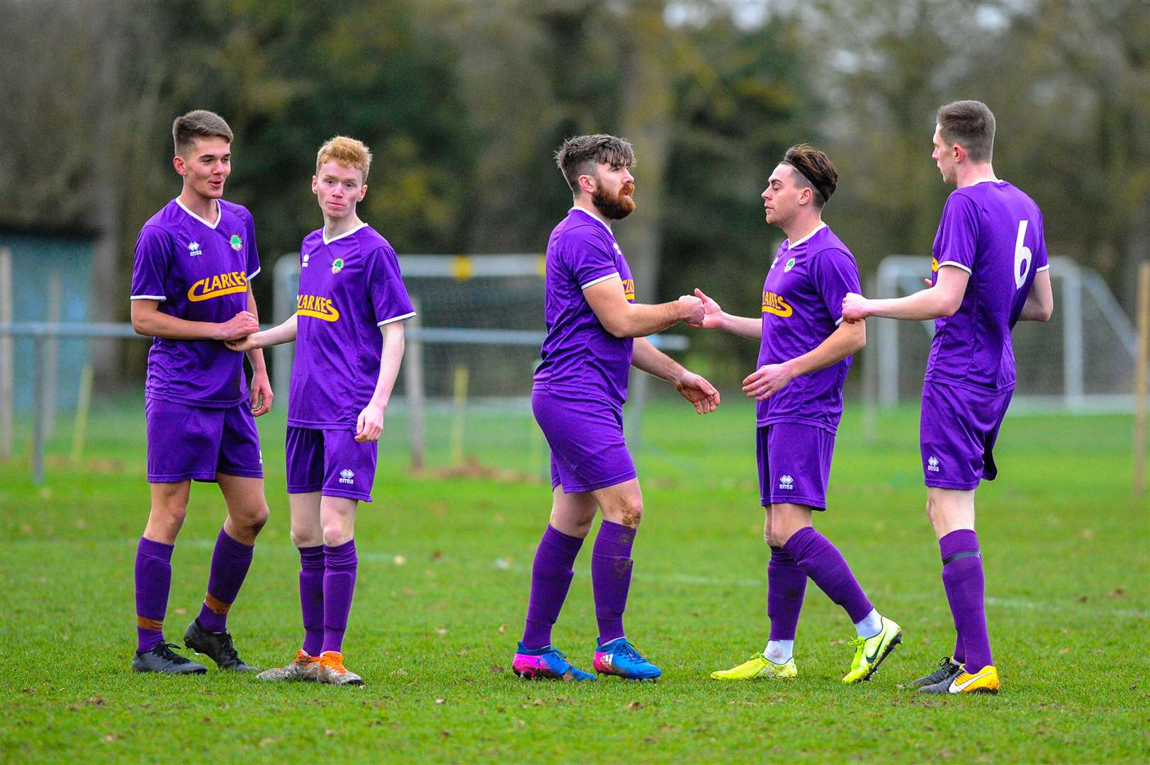 11/01/2020. Walsham le Willows, UK. ..Football action from Walsham-le-Willows v Haverhill Rovers..Walsham celebrate their first goal. ..Photo by Mark Bullimore. (26481150)