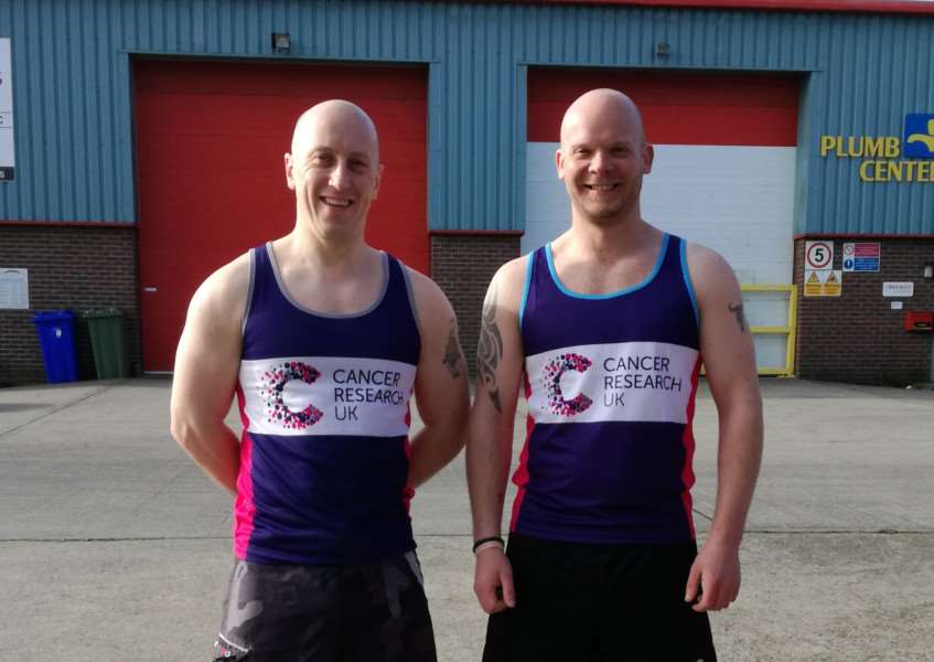 Ross Standeven, left, and Adam Bloe are running in the Brighton Marathon in support of Cancer Research