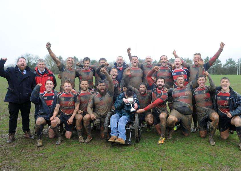 HAPPY SQUAD: The delighted players celebrate with the Chadacre Cup Picture: Mecha Morton