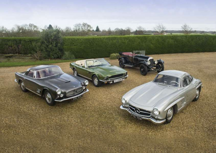Some of the Kingsley Curtis cars that will be auctioned by Bonhams. From the left Maserati 3500GT, Aston Martin V8 Volante, Bentley 3-litre TT Replica and Mercedes-Benz 300SL Gullwing ANL-161002-142503001