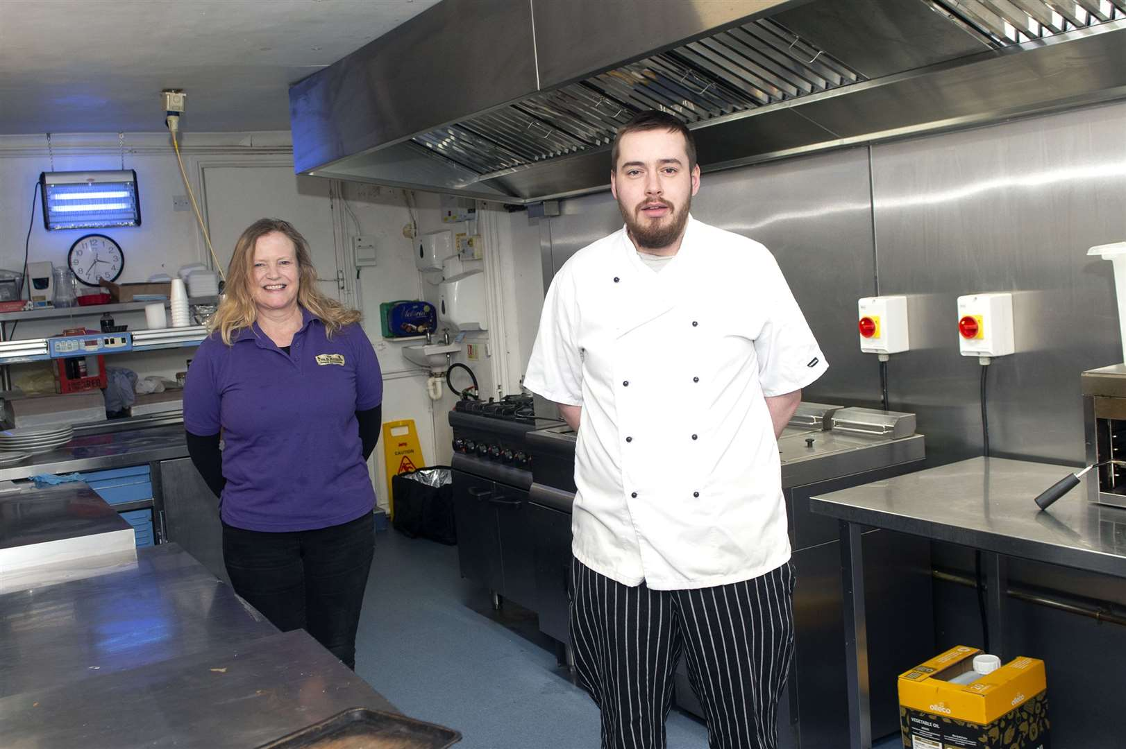 The Fox and Hounds in Steeple Bumpstead has been ranked first out of 32 pubs and restaurants in the Haverhill area by Restaurant Guru. Pub owner Kate Irwin is pictured with head chef David Jackson. Picture by Mecha Morton