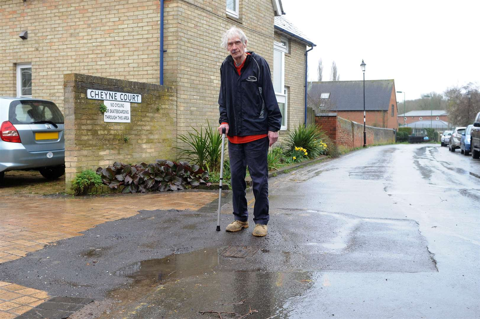 Sudbury resident Stephen Thorpe is annoyed about the state of Cheyne Court and Quay Lane that has been left behind after Anglian Water carried out works to fix a water leak....PICTURE: Mecha Morton... (7528290)