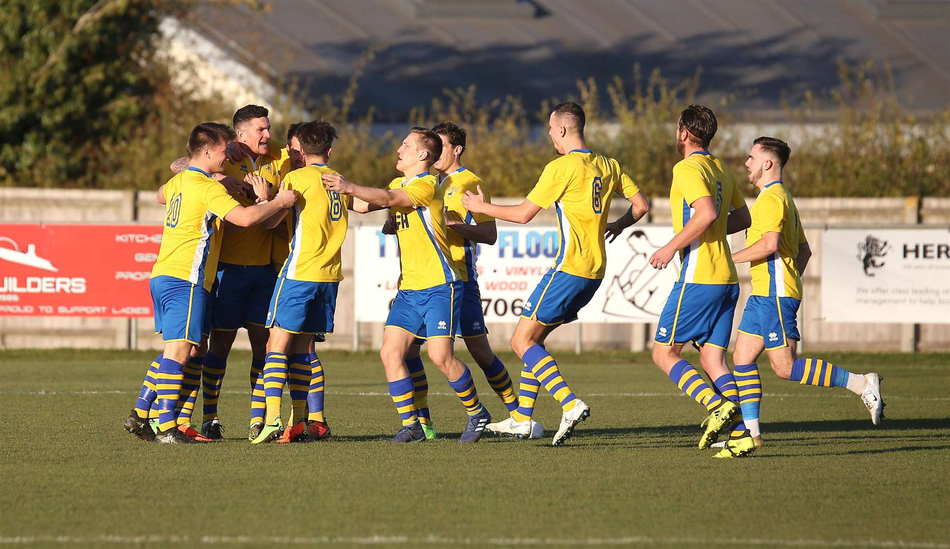 Haverhill Rovers v Newmarket Town - Newmarket celebrate their first goal after only a few seconds of the game..Pic - Richard Marsham. (5187126)