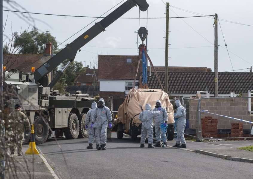RAF Regiment experts have been backing up personnel from Falcon Squadron of the Royal Tank Regiment, supported by Royal Electrical and Mechanical Engineersl, in removing vehicles from the area.'Picture: MOD/Martin Jones