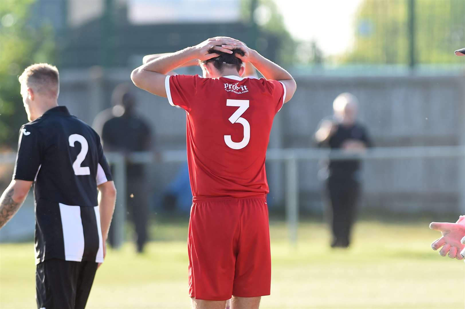 FOOTBALL - Haverhill Rovers v Swaffham Town..Pictured: Henry Hall has his head in his hands as he misses the goal a few minutes before the final whistle...PICTURE: Mecha Morton .... (18279514)
