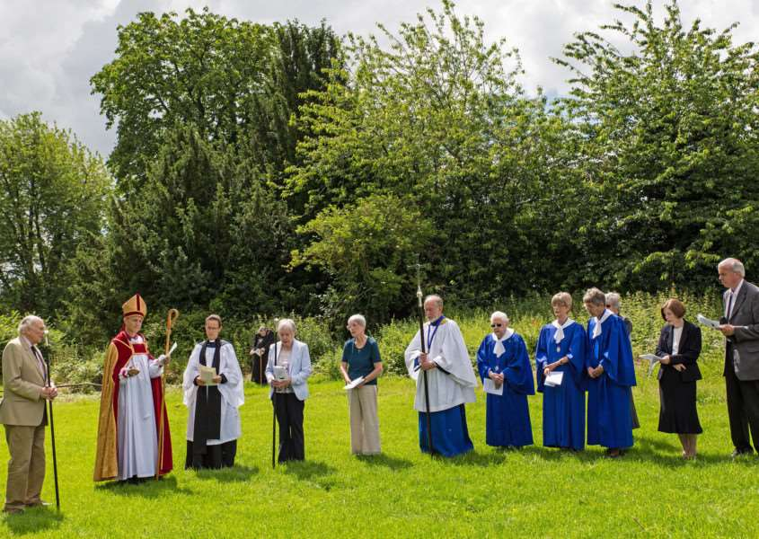 The Rt Rev Mike Harrison, Bishop of Dunwich, Rev Manette Crossman, Vicar of f Great Barton & Thurston, Col. Christopher Wells, Assistant Churchwarden and Mrs. Irene Churchus, Churchwarden with members of the choir and a few of the nearly 60 people who attended. ANL-160107-153144001