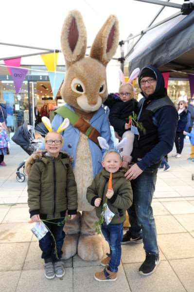 Peter Rabbit visited the Arc shopping centre''Pictured: Dave Evans with Layla (3), Jayden (5) and Tyler-Ryhs (6) Clarke-Evans'''PICTURE: Mecha Morton