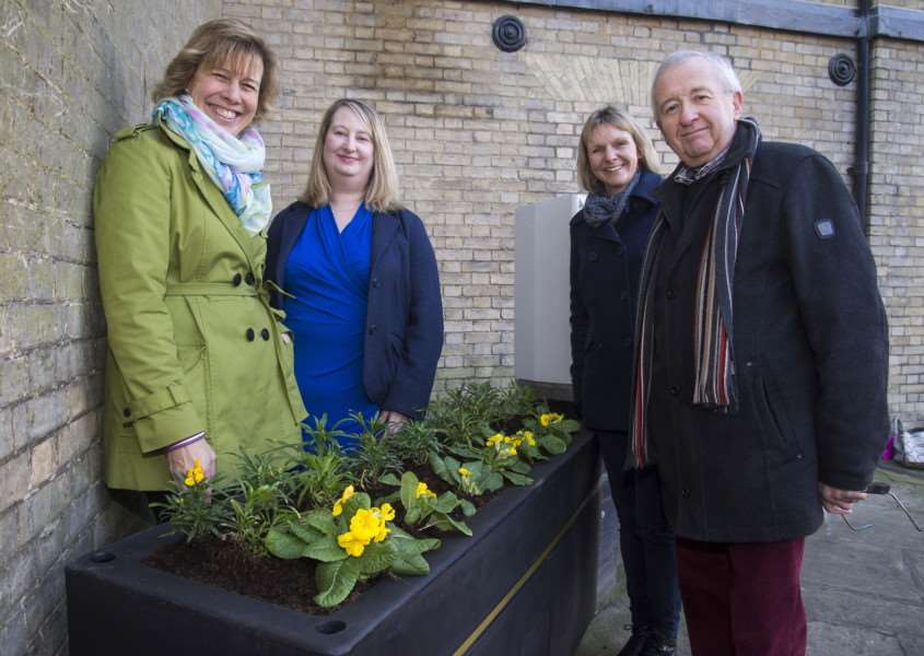 Melanie Lesser with Cllr Jo Rayner, horticultural officer Rebecca Davis and in Bloom chair Alan Jary