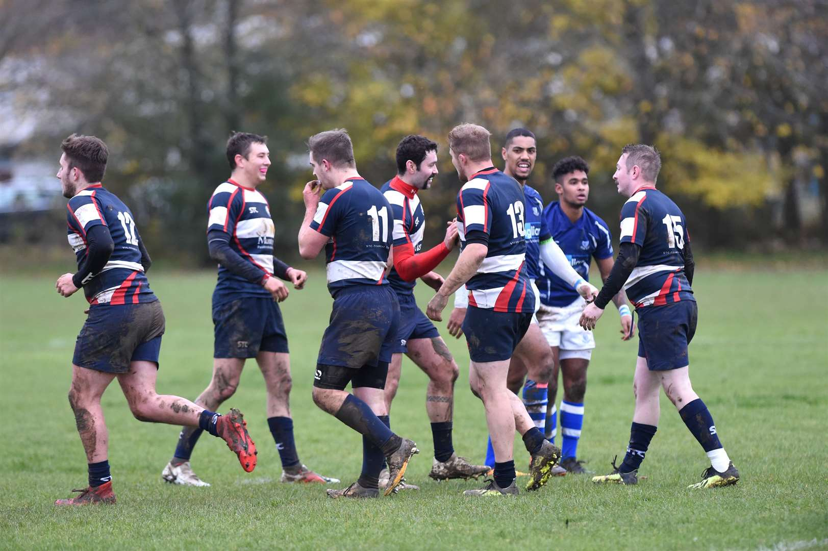 RUGBY - Stowmarket v Diss..Pictured: Stowmarket celebrate their try...PICTURE: Mecha Morton .... (21838145)