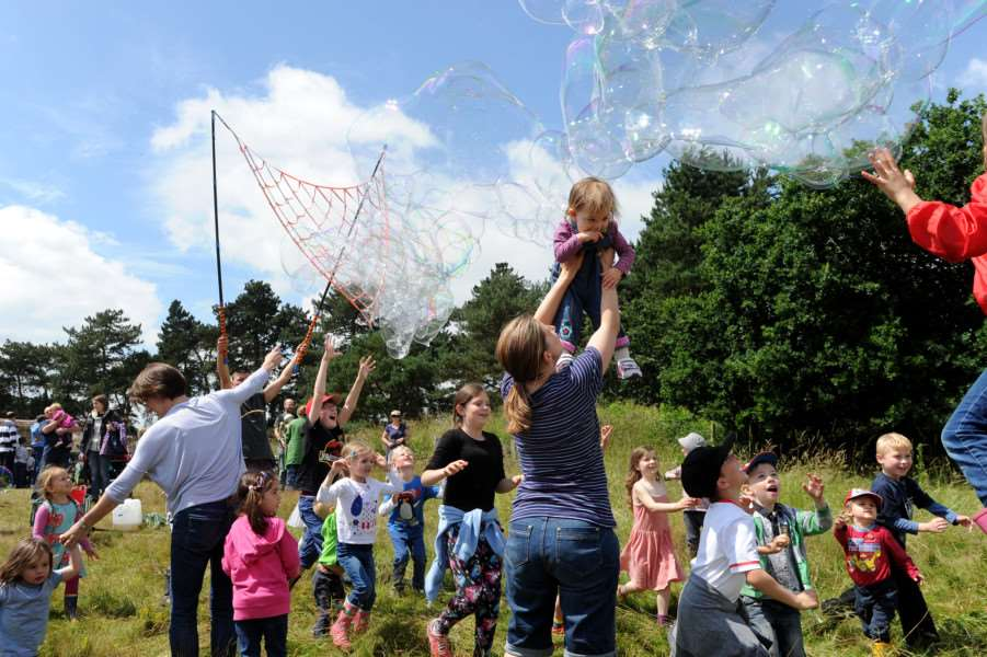 West Stow Dragon Festival 2016''Pictured: Giant bubble making ANL-160626-201118009