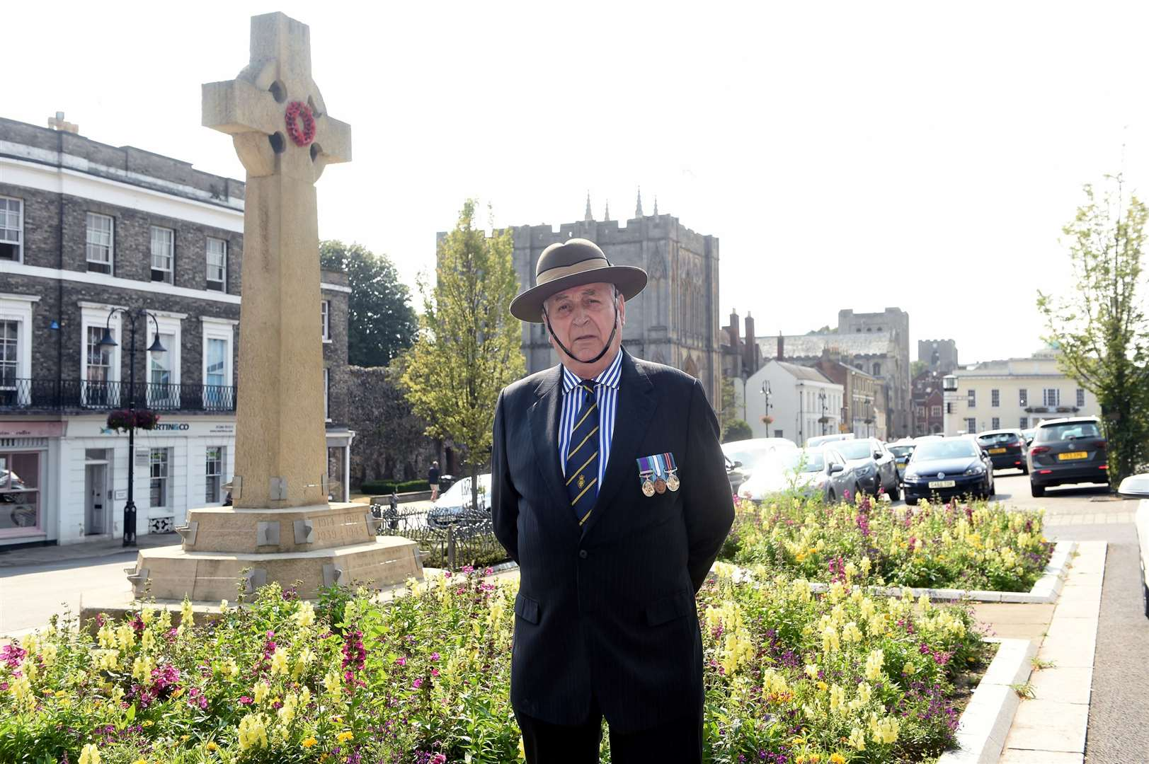 Ken Rowbottom, Suffolk County chairman of the Royal British Legion at the War Memorial in Bury St Edmunds. Picture: Mecha Morton.