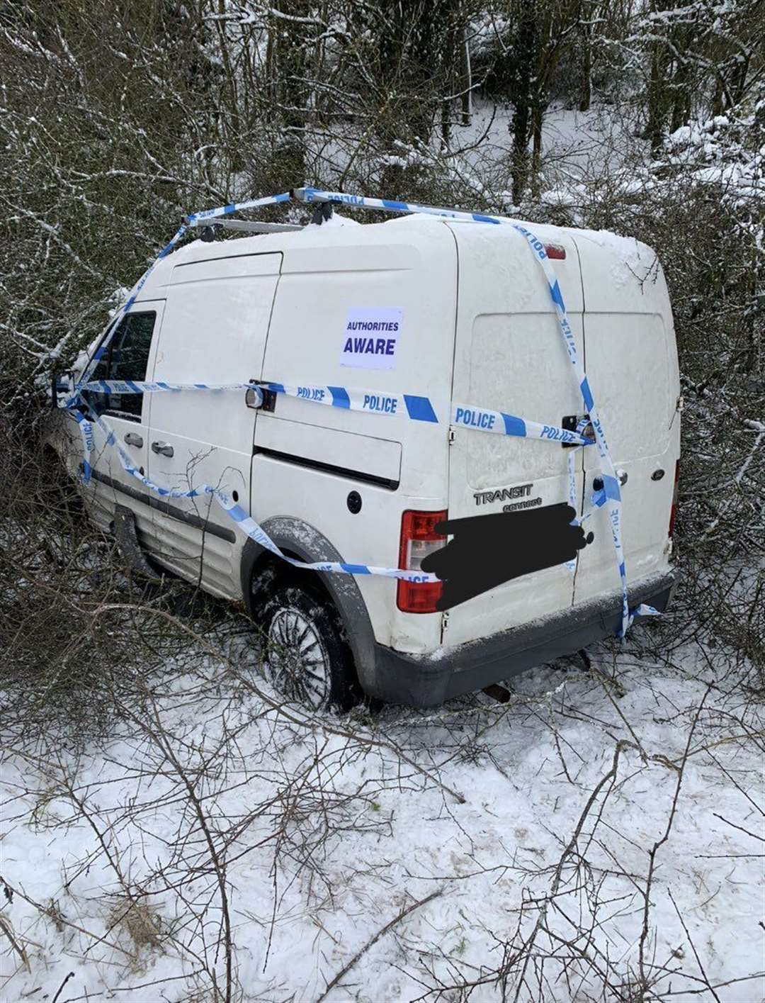 A van collided with a hedge in Stowupland. Picture: @PoliceStow