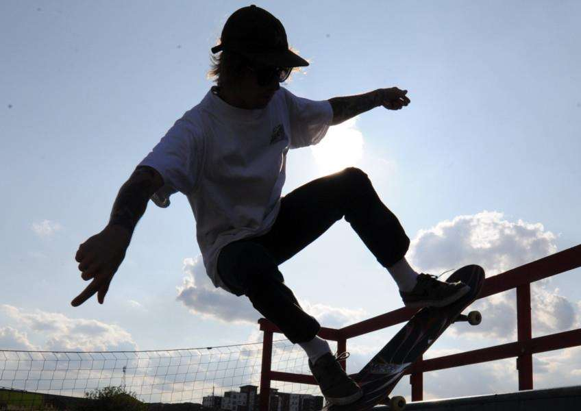 Skateboarder in the sun