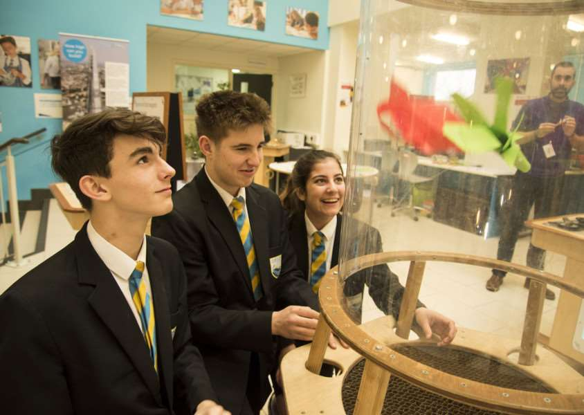 Stour Valley Community School, Cavendish Rd, Clare, Sudbury'School STEM fair (science fair)'Vertical Wind Tunnel Zara Smith, Will Atherton and Lewis Wiliams'Picture Mark Westley