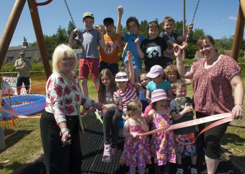 Mark Westley Photography'Felsham and Gedding Fun Day and unveiling of new play equipment on Felsham Playing Field'Penny Otton County Councillor opens the new play equipment pictured with Hayley Gilbook secretary of Felsham and Gedding playing field association ANL-150806-093542009