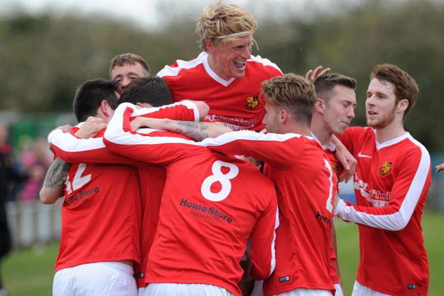 UP FOR THE CUP: Ruddy leads the celebrates after Mildenhall beat Norwich United in 2016