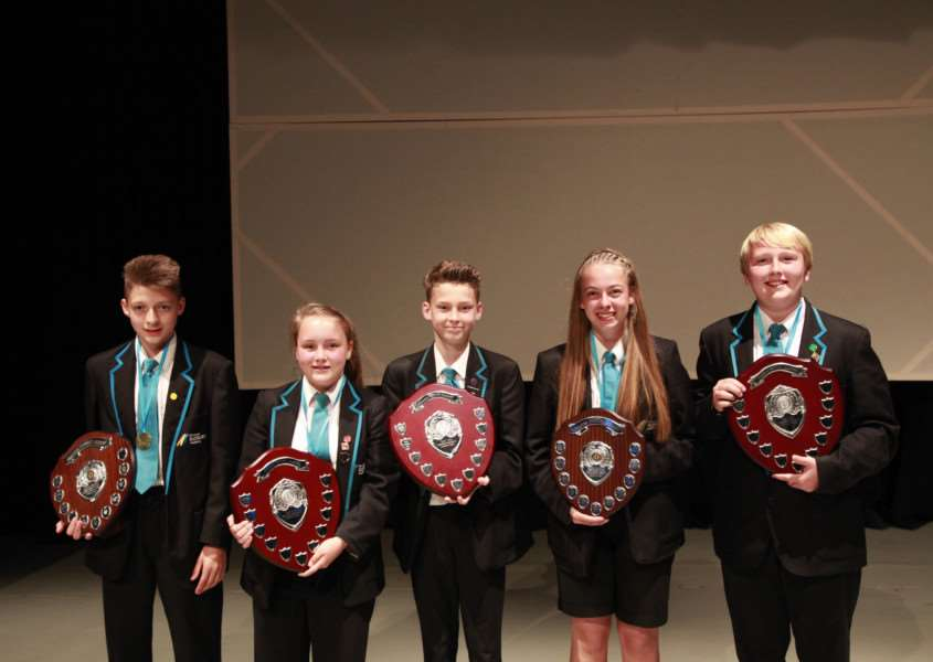 Winners at Ormiston Sudbury Academy sports award evening. Left to right: Corey Willings, Molly Cracknell, George Bareham, Amy King, Harrison Bonner ANL-160719-115119001