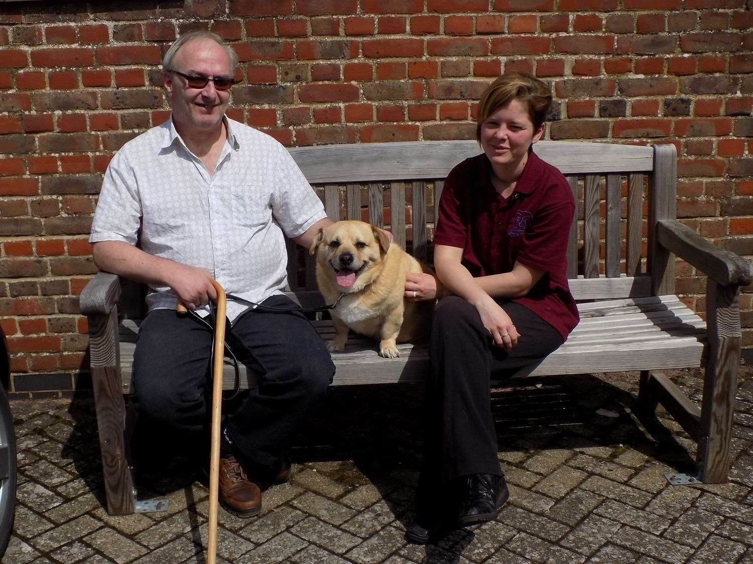 Michael Anderson, Boss and Brainy Dogs co-ordinator Sophie Wellum-Mayes. Picture: Headway Suffolk (14777946)