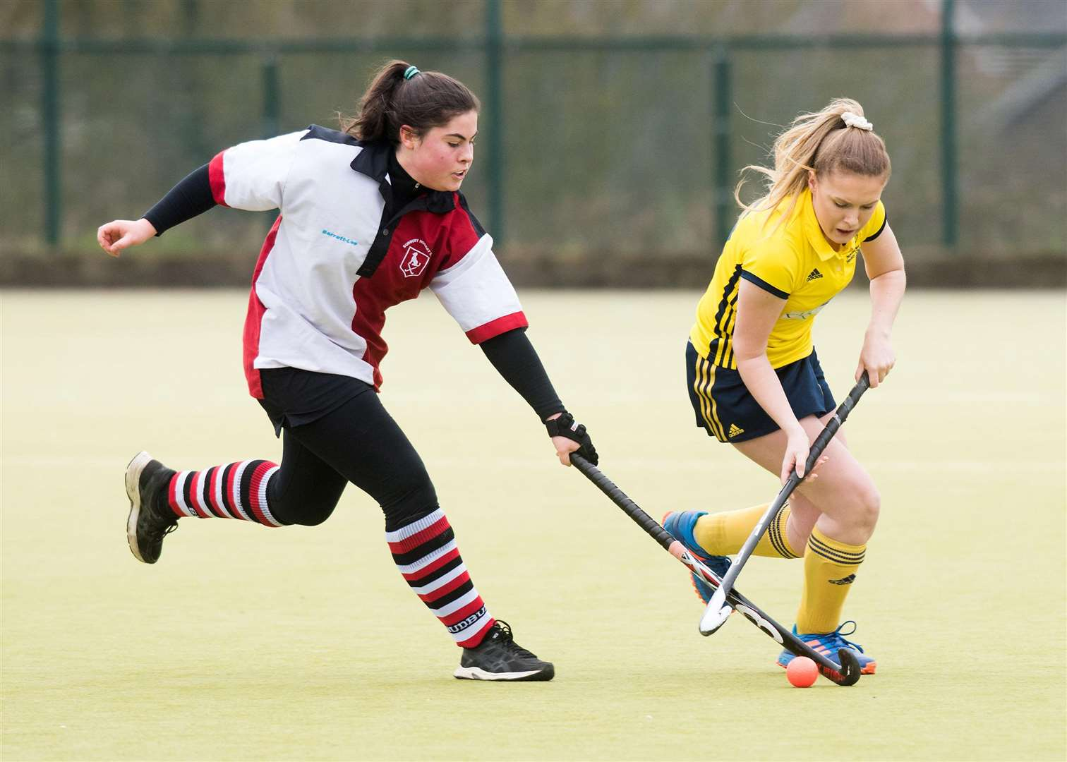 Olivia Ford (left) battles for possession during Sudbury Ladies III's 2-0 victory at Newmarket III Picture: Mark Westley