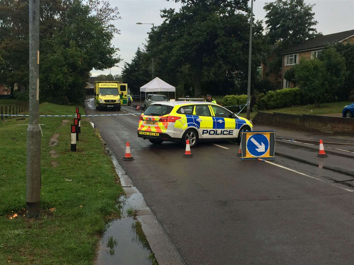 The police cordon in Brandon Road, Thetford, put up after the murder of David LawalPicture: Kevin Hurst