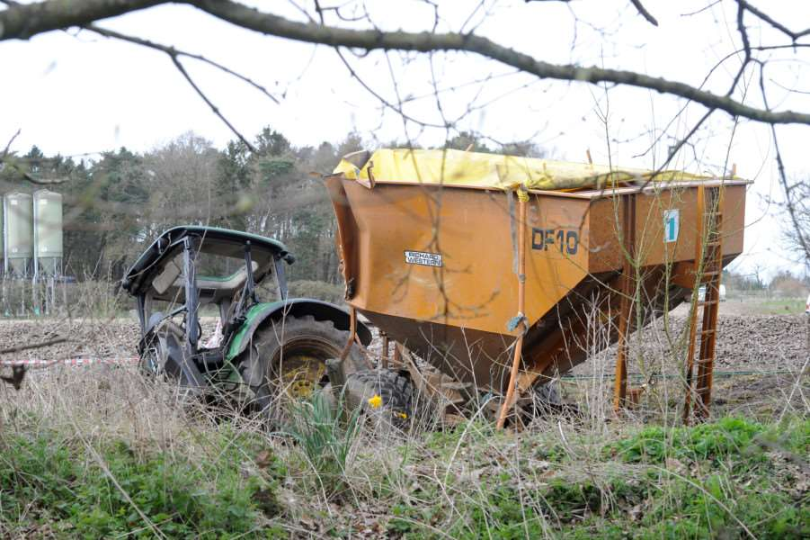 Train and Tractor crash at Roudham''Pictured: The tractor that crashed with the train ANL-161004-191325009