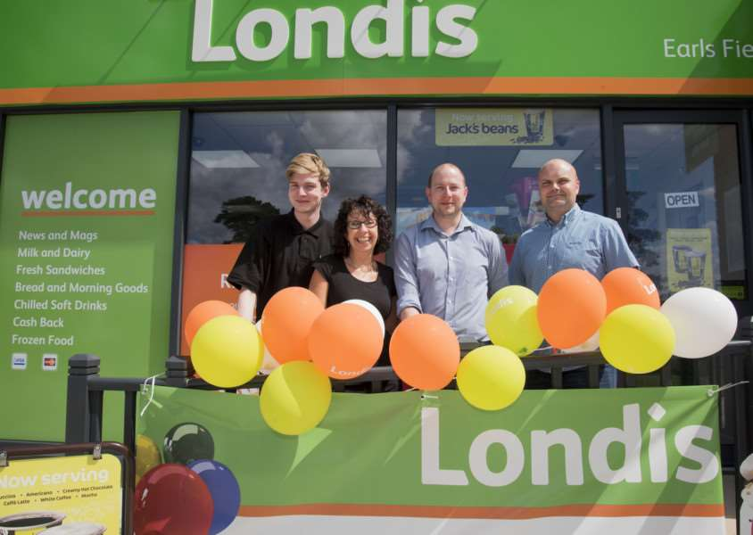 Eriswell's Londis Store manager Alan Doyle, left, with Belinda Finch, Danny Gibson and owner Steve Gibson
