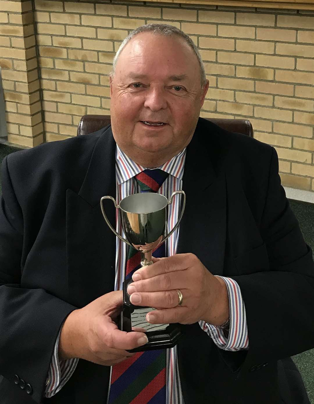 Bury St Edmunds Cricket Club chairman Paul Whittaker with the Sunday league runner up trophy which the club claimed in the 2019 season (33553251)