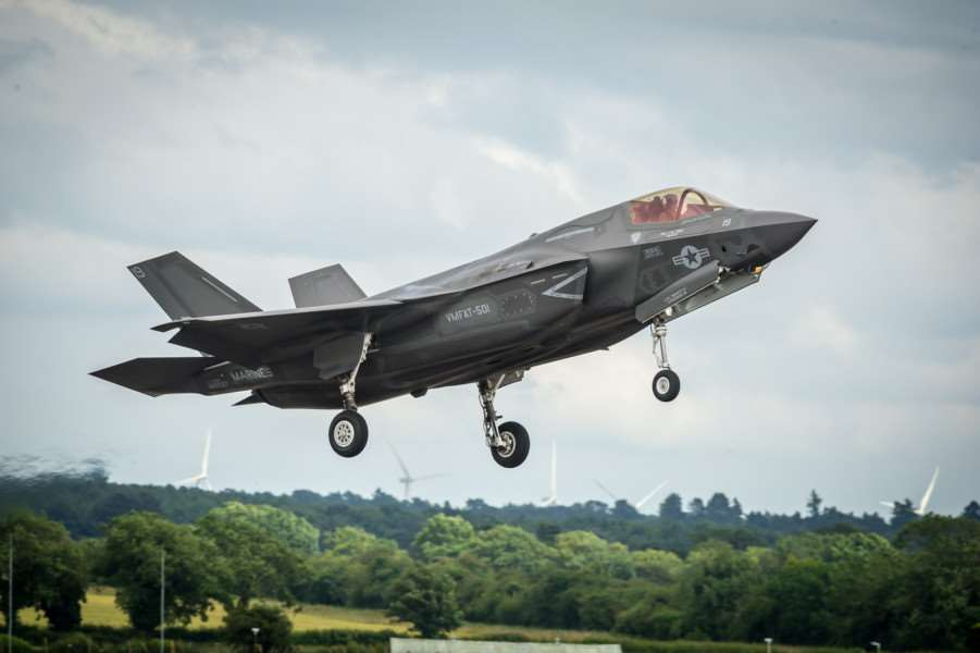 F-35B Lightning makes a maiden appereance over RAF Marham. ANL-160207-000957009