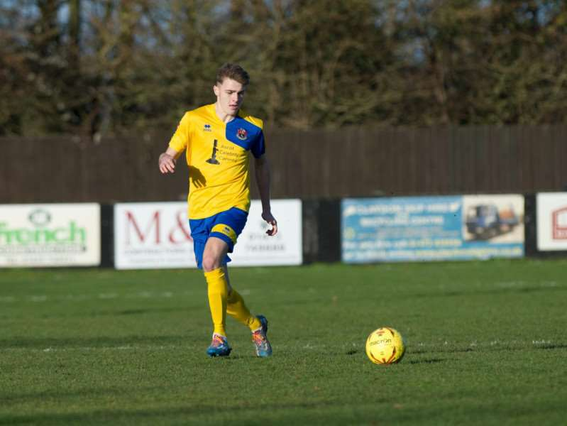 STAR TURN: Tyler French in action for AFC Sudbury at Suffolk rivals Needham Market on Boxing Day Picture: Mecha Morton